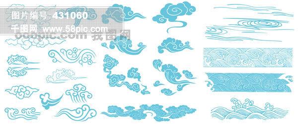 古典手绘云纹矢量素材