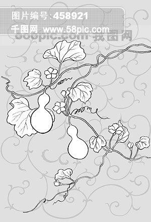 线描植物花卉矢量素材 22 唐草 葫芦瓜 .