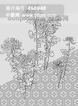 线描植物花卉矢量素材 39 菊花 龟甲背景 .