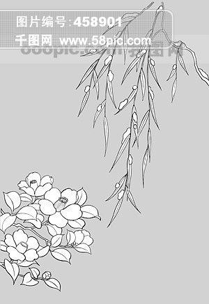 线描植物花卉矢量素材 16 柳树枝与椿 .