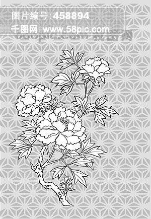 线描植物花卉矢量素材-11(牡丹花).