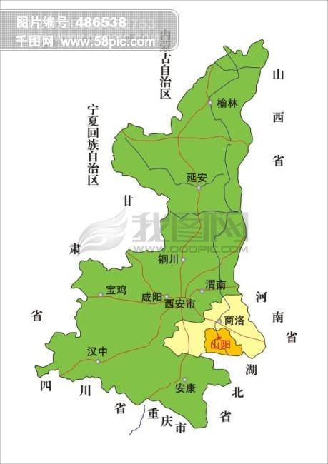 陕西省矢量地图