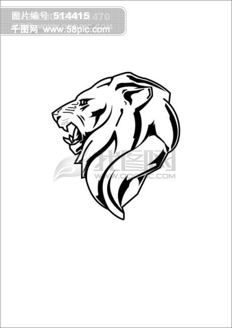 手绘霸气黑白狮子