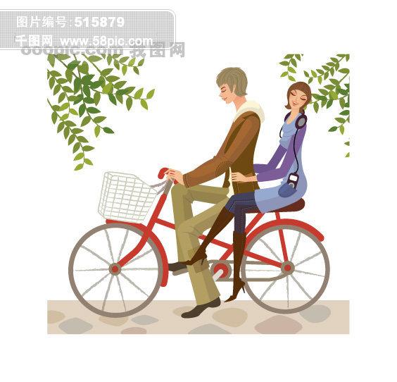 骑自行车卡通情侣矢量素材