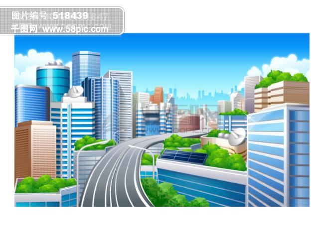 卡通城市风景矢量素材