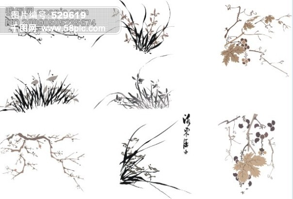 矢量水墨画(梅花 兰花 竹子 葡萄)(cdr); 水墨中国画 小写意 九页图片