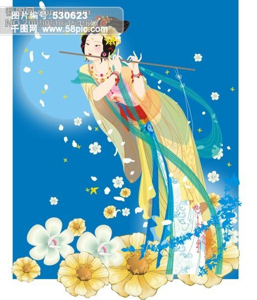 古典仙女插画背景图片