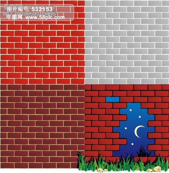 矢量砖墙背景,墙壁,植物,连续背景,平铺背景,矢量素材 矢量图 其他