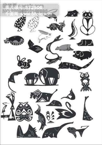 动物图案(象鹅龟 兔子