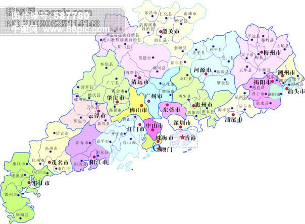 广东省县市分布-矢量地图图片
