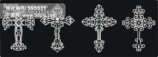 精美十字架 矢量花纹|矢量花边|底纹边框
