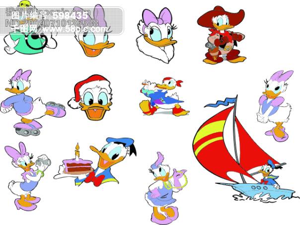 迪士尼 布鲁托 唐老鸭 米妮 米奇 卡通动漫|卡通人物|卡通美女 矢量