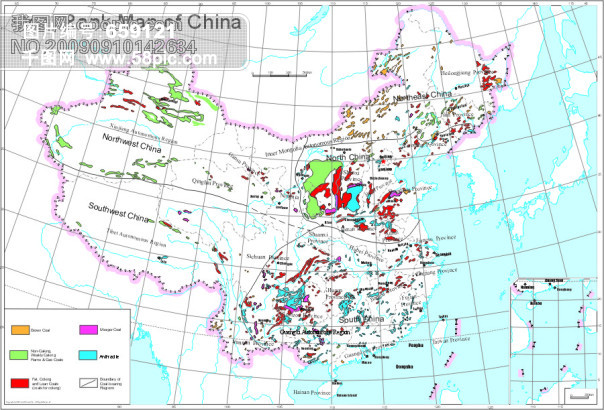 中国地图全图英文版