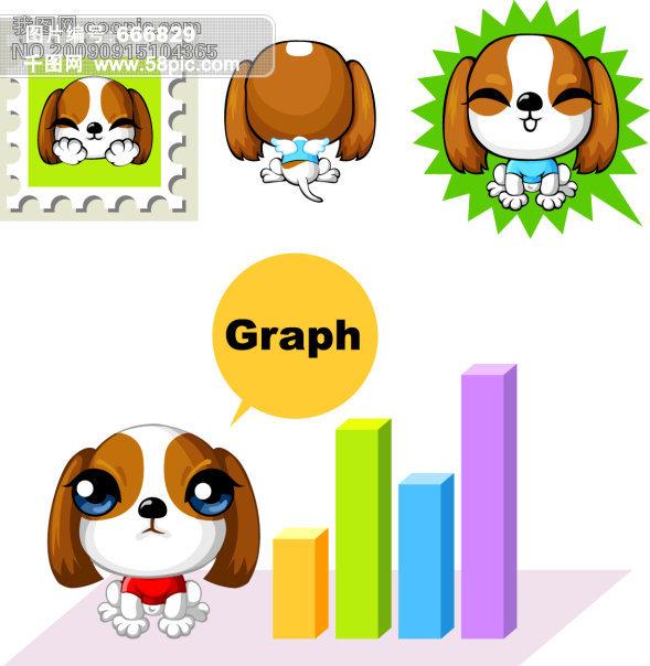 矢量素材 底纹 花纹 图案 斑点 狗 钱币 存钱罐 可爱动物 卡通 家禽