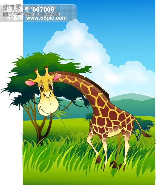野生动物 河水 树木 草丛 条纹 长颈鹿 生物世界矢量素材 野生动物