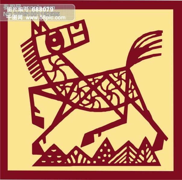 剪纸版十二生肖午马