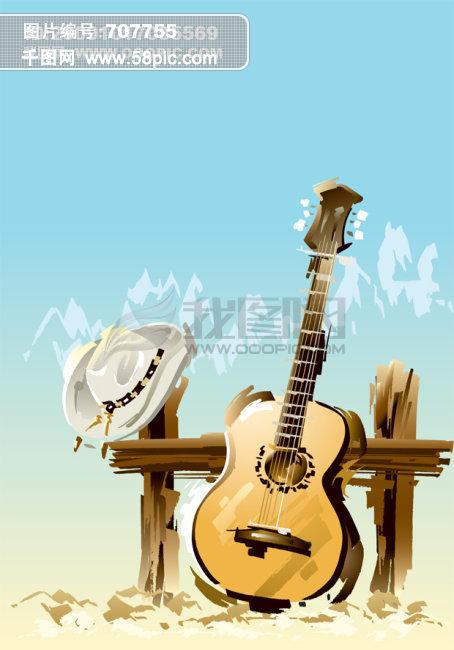 吉他水彩画矢量图免费下载-千图网www.58pic.com