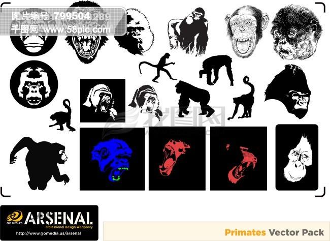 大猩猩和猴子矢量素材,大猩猩,猴子,剪影,动物,潮流图案,gomedia,go