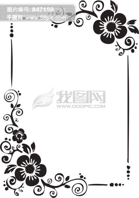 简单黑白花纹边框