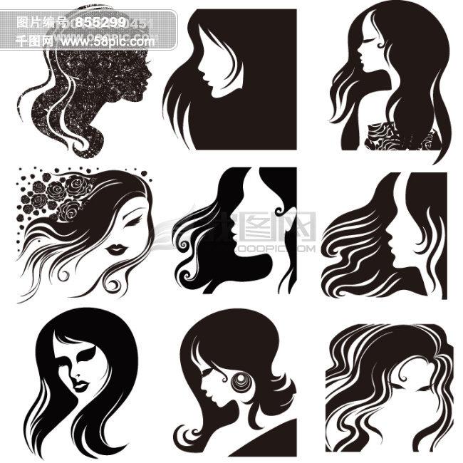 美女发型矢量图免费下载 千图网www58picco