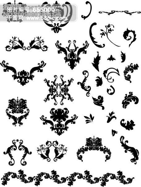 花边 手绘插画简单 漂亮 黑白