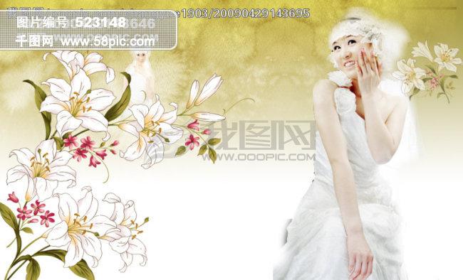 韩国动漫手绘黑白婚纱