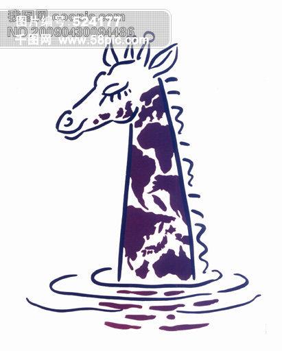 创意图形 抽象派 动物 psd广告设计 图库 长颈鹿 地球 水 环保 黑色