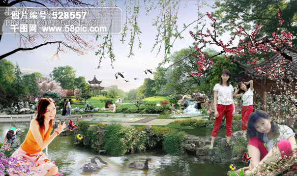 美女美景图片psd素材免费下载 千图网www58piccom