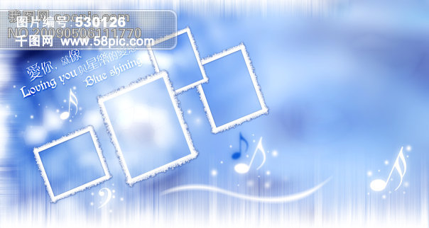 蓝色,边框,字体,音乐符号