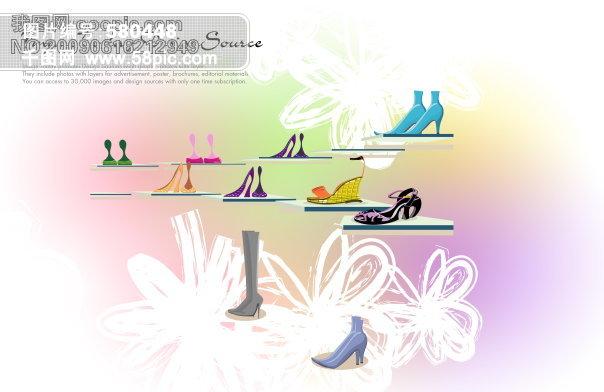 韩国 手绘背景 手绘 背景 手绘花 彩色 鞋子 psd源文件 psd素材|psd