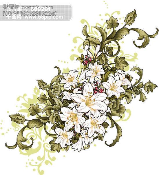 时尚手绘百合花花纹