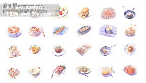 西餐手绘高清图片 面包 西式牛肉串 牛扒 蛋糕 披萨 寿司 意大利面 罗
