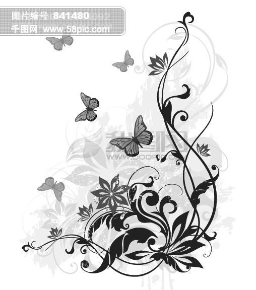 手绘少女蝴蝶背影